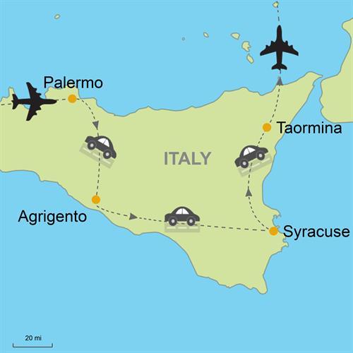 Palermo Agrigento Syracuse Taormina Self Drive Customizable