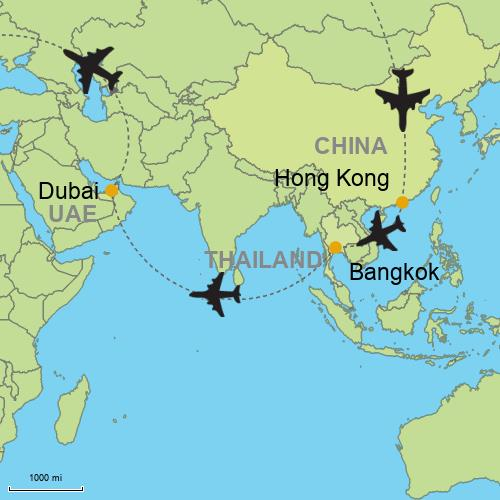 Hong kong bangkok dubai customizable itinerary from map hong kong bangkok dubai gumiabroncs Choice Image