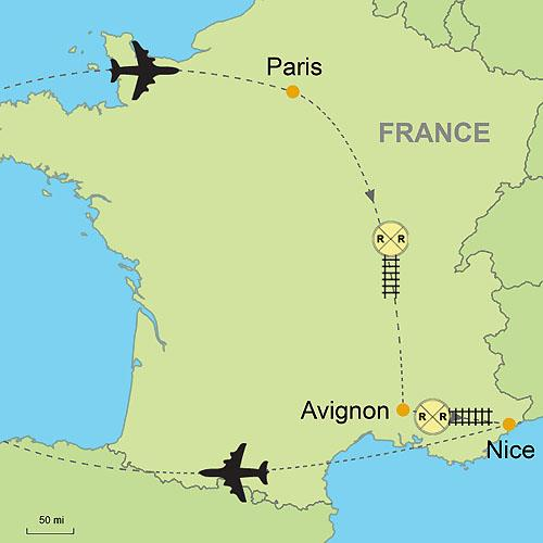 Paris Georgia Map.Paris Avignon Nice Customizable Itinerary From