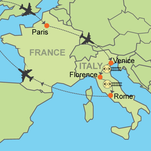 Paris On Europe Map.Paris And Venice Florence Rome Customizable Itinerary From
