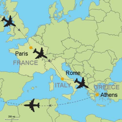 Paris rome athens by air customizable itinerary from paris rome athens by air gumiabroncs Image collections