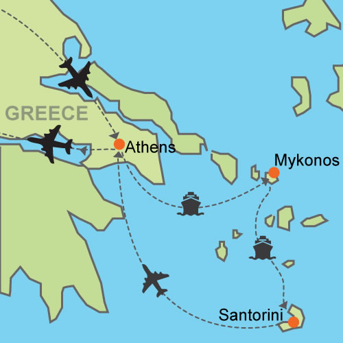 Athens Mykonos Santorini Customizable Itinerary from