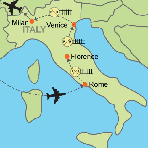Rome florence venice milan customizable itinerary from fcoflrvcemxpmap publicscrutiny Images