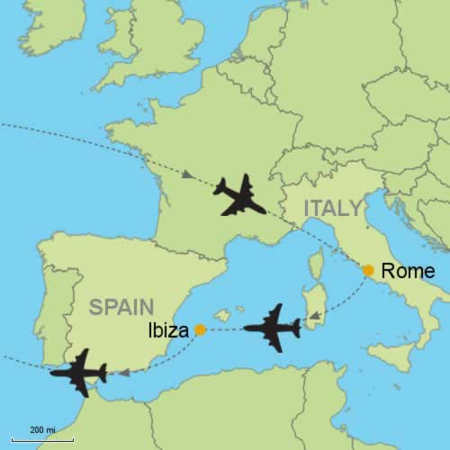 Ibiza On World Map.Rome And Ibiza By Air Customizable Itinerary From