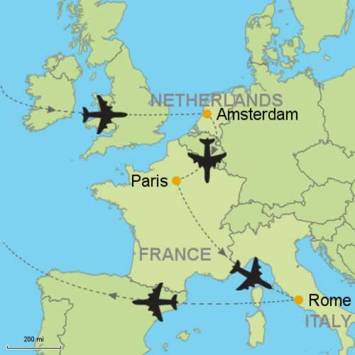 Amsterdam Paris Rome By Air Customizable Itinerary From