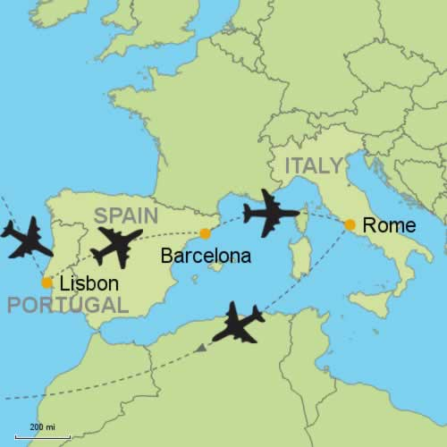 Lisbon Spain Map.Lisbon Barcelona Rome By Air Customizable Itinerary From