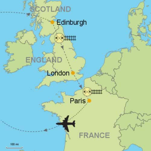 Edinburgh London Paris Customizable Itinerary From