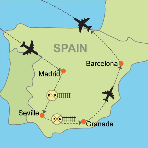 Barcelona In Spain Map.Madrid Seville Granada And Barcelona Customizable Itinerary From