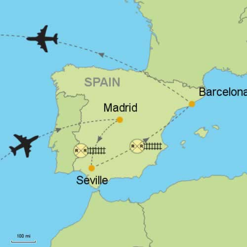 Madrid Seville Barcelona Customizable Itinerary from