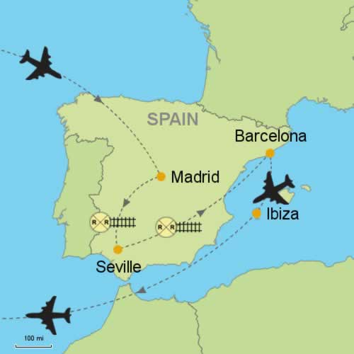Madrid Seville Barcelona Ibiza Customizable Itinerary from