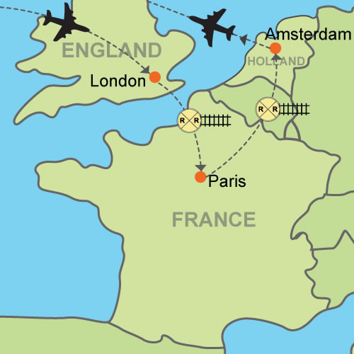 london paris amsterdam customizable itinerary from