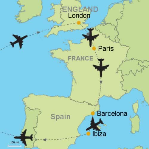 London Paris Barcelona and Ibiza Customizable Itinerary from