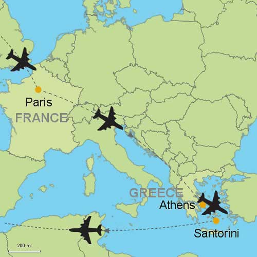 Paris Georgia Map.Paris Athens Santorini By Air Customizable Itinerary From