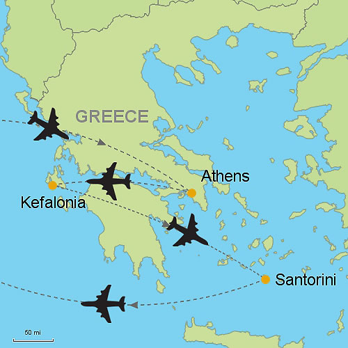 Athens Kefalonia And Santorini By Air Customizable Itinerary From