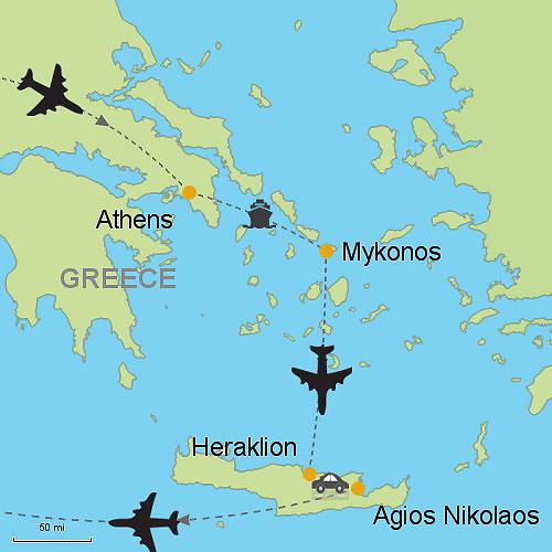 Athens Mykonos and Agios Nikolaos Crete Island Customizable
