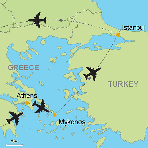 Athens Mykonos and Istanbul by Air Customizable Itinerary from