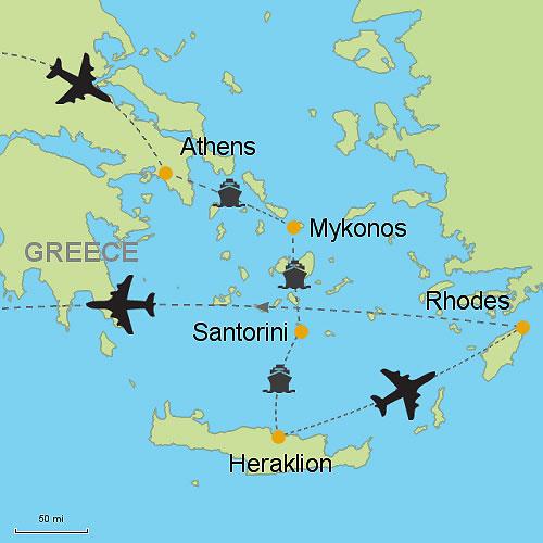 Athens Mykonos Santorini Heraklion Crete Rhodes