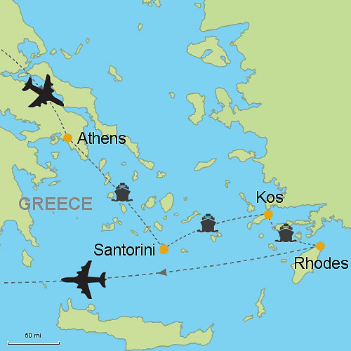 Athens Santorini Kos and Rhodes Islands Customizable Itinerary