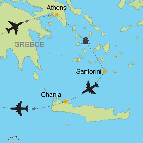 Athens Santorini and Chania Customizable Itinerary from