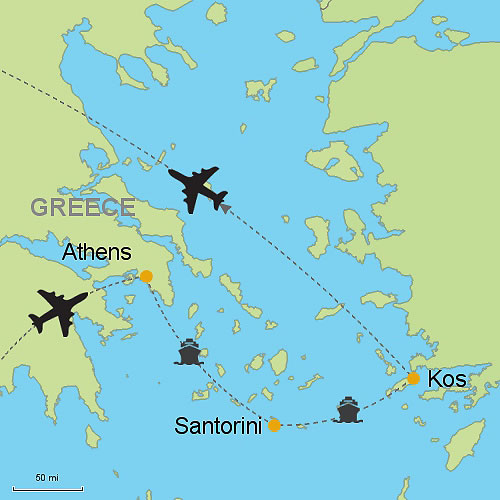 Athens Santorini Island and Kos Island Customizable Itinerary from