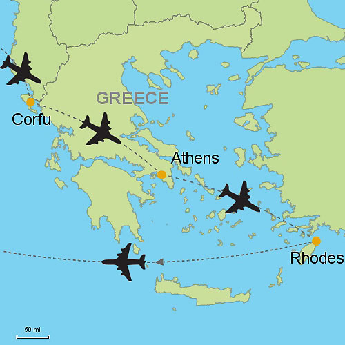 Corfu Athens and Rhodes by Air Customizable Itinerary from