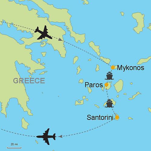 Mykonos Paros Santorini Customizable Itinerary from