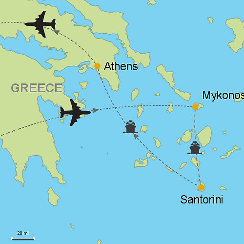 Mykonos Santorini Athens Customizable Itinerary from