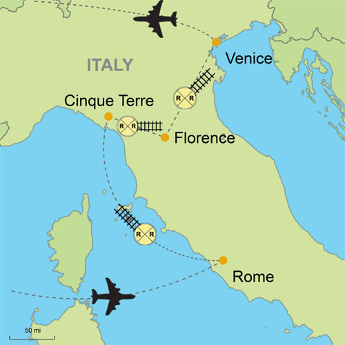 Italy Map Cinque Terre.Rome Cinque Terre Florence Venice Customizable Itinerary From