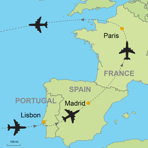 Lisbon Spain Map.Lisbon Madrid Paris By Air Customizable Itinerary From