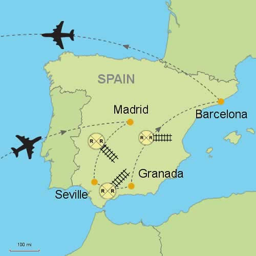 Madrid Seville Granada Barcelona Customizable Itinerary From